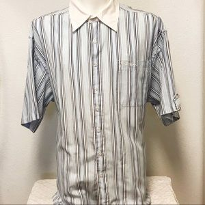 PHAT FARM 3XL Short Sleeve Buttons Pocket Striped
